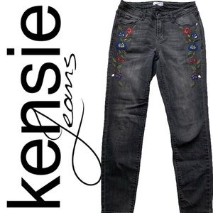 Kenzie jeans black skinny with floral embroidered